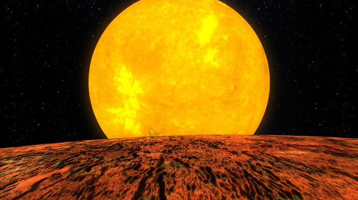 An artist's concept of the exoplanet Kepler-10b orbiting its star.