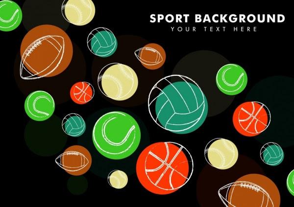 Olahraga Latar Belakang Bola Berbagai Ikon Sketsa Vektor Icon Vektor