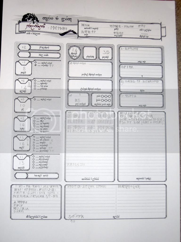 Character sheet in Elvish