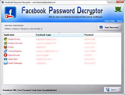 FacebookPasswordDecryptor showing recovered passwords