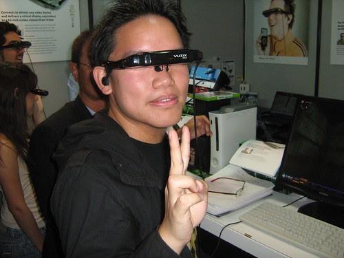 Me wearing the Vuzix Video Eyewear