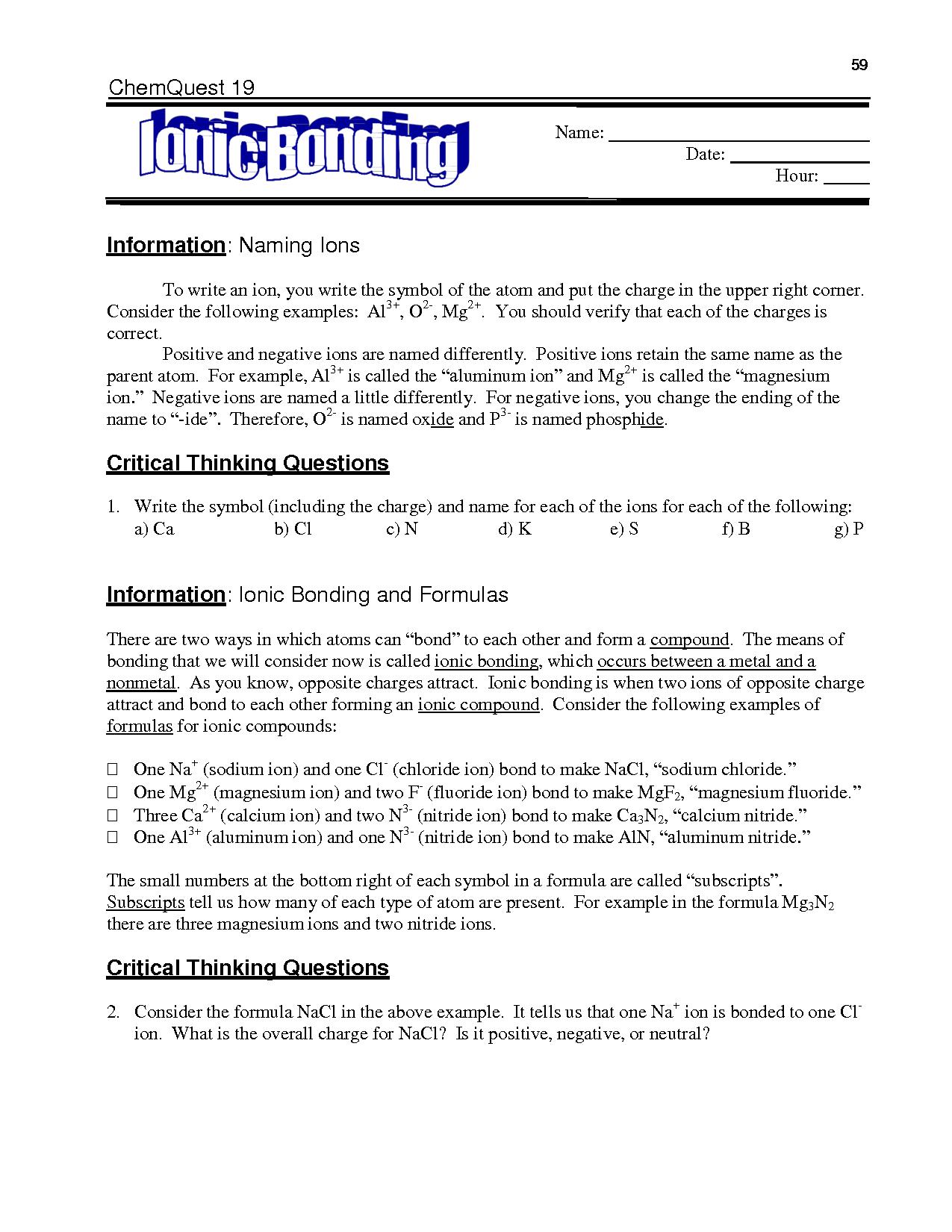 16 Best Images of Ionic Bonding Worksheet Answer Key  Chemistry Chemical Bonding Worksheet