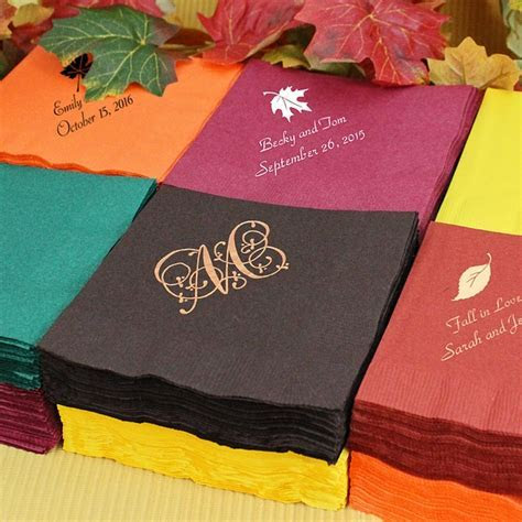 Fall Wedding Cocktail Napkins Personalized   3 Ply Paper