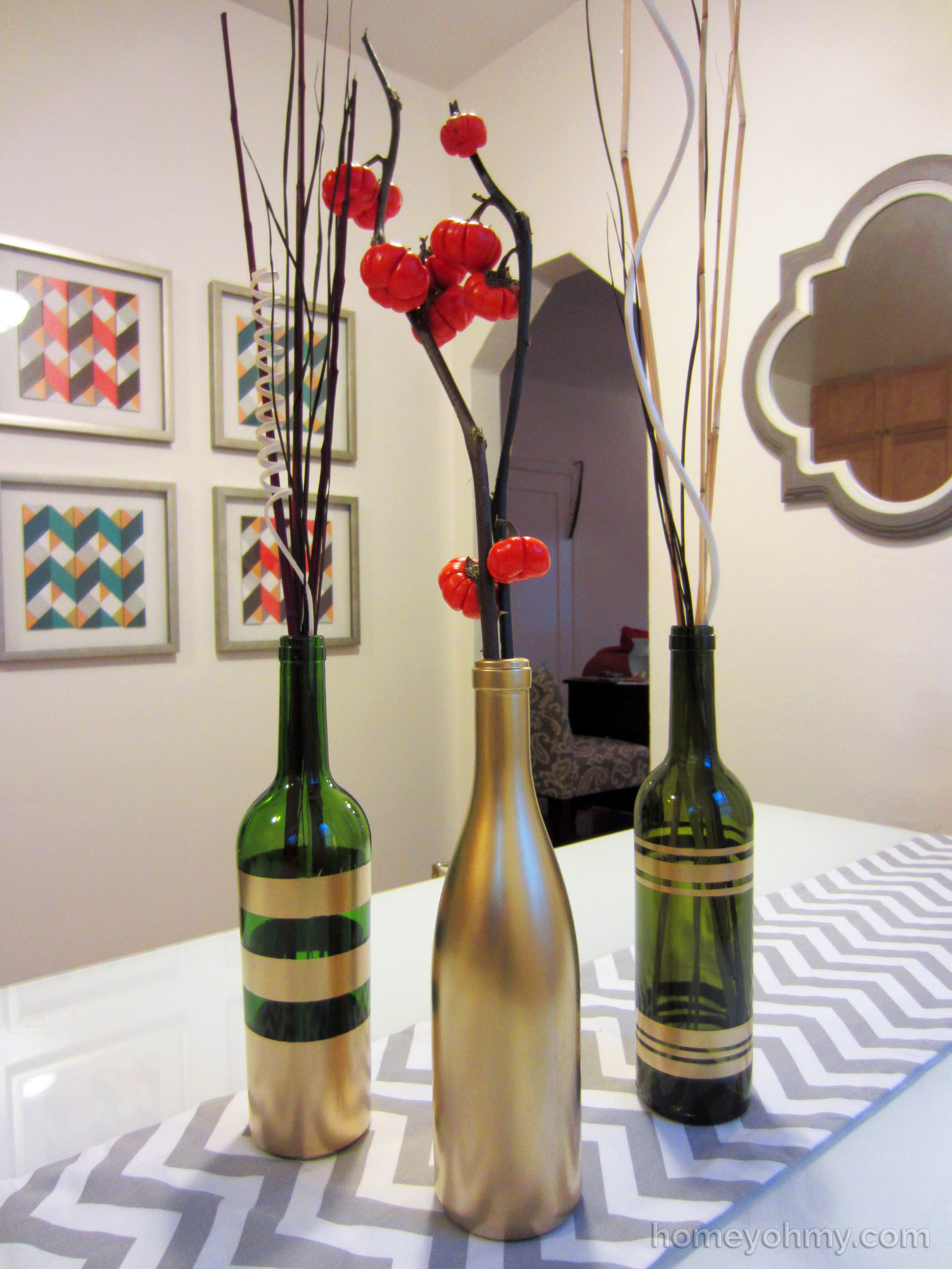 Diy Spray Painted Wine Bottles For Fall Decorating Homey Oh My