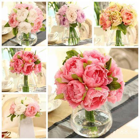 10 Heads Artificial Silk Flower Peony Wedding Bouquet