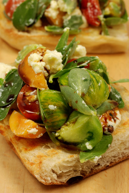 purslane, tomato and persian fetta bruschetta© by Haalo