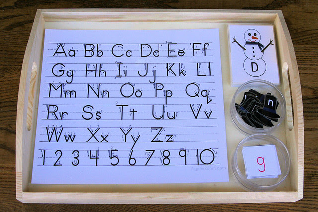 Montessori-Inspired Snowman Letter Tray with Movable Alphabet