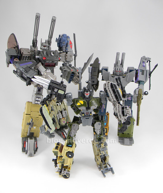 Transformers Bombshock con Combaticons Power Core Combiners - modo combinado vs Colussus vs Bruticus G1