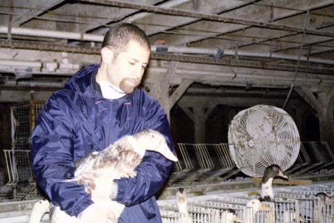 Ryan Shapiro rescuing a duck from a foie gras factory farm in the 2003 documentary Delicacy of Despair. (Gourmet Cruelty)