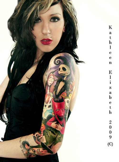 Girl Left Sleeve Colored Devil Tattoo