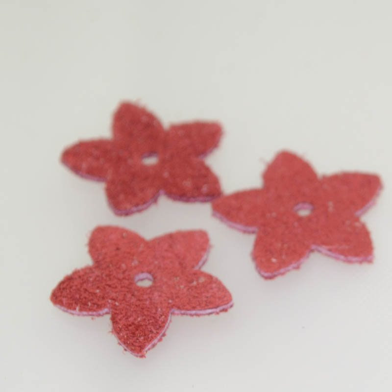 s40583 Leather - Small Suede Flower - Coral (1)