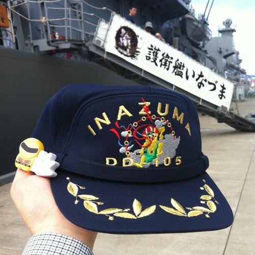 護衛艦「いなづま」の艦長帽をゲット!一般帽と比べてツバが豪華。