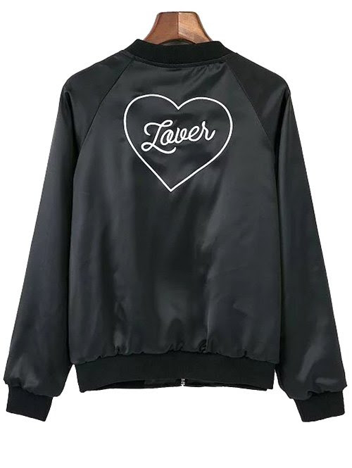 Love Heart Embroidered Bomber Jacket