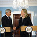 Secretary Clinton Shakes Hands With Kazakh Foreign Minister Idrissov