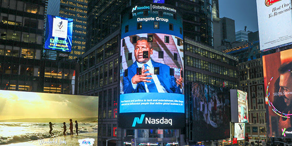 Aliko Dangote Features On Nasdaq Tower, New York City