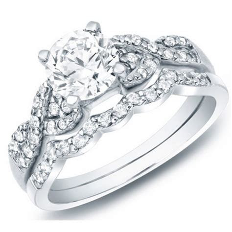 Delightful Cheap Diamond Wedding Set 1 Carat Round Cut