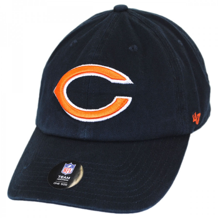 47 Brand Chicago Bears NFL Clean Up Strapback Baseball Cap NFL Football Caps