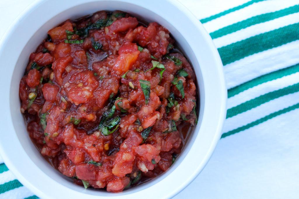 Tomato, Garlic, and Basil Bruschetta