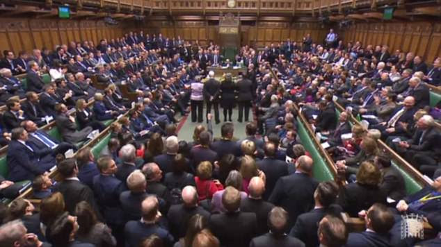 Labour MPs bunched the air in jubilation and Remain MPs across the Commons cheered and applauded as the extraordinary vote was announced (pictured)