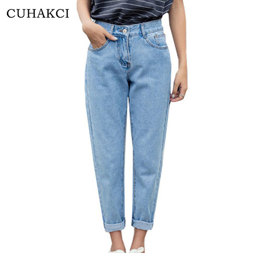 021cee44f CUHAKCI 2018 New Slim Pencil Pants Women`s Plus Size High Waist Light Blue  True Denim Pants Boyfriend Jean Femme For Women ...