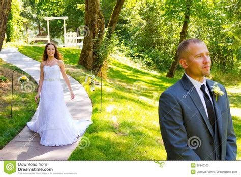 Bride And Groom First Look Moment Stock Photography
