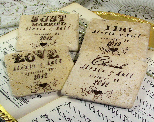 Wedding Coasters Set of 4 Love Cherish Personalized Set of 4 Bride and Groom