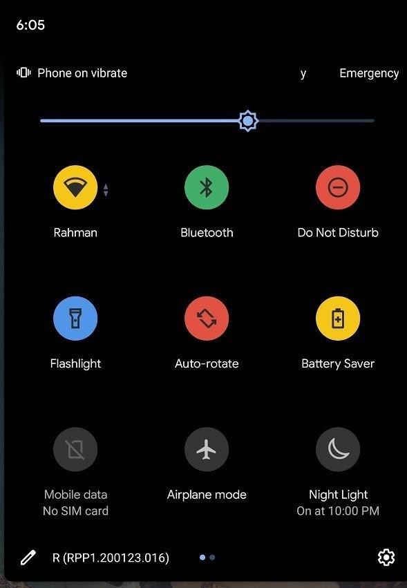 Google adiciona Cores ao menu Configurações rápidas no Android 11