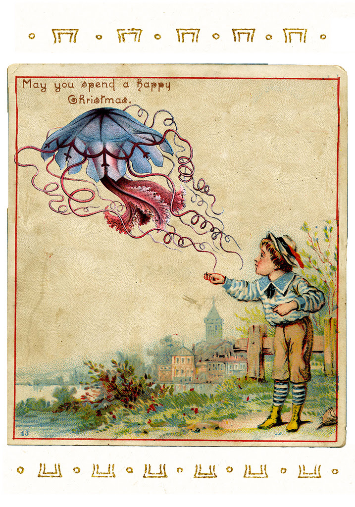 A boy with a blue jellyfish, illustrated by Ernst Haeckel (via John Holbo/Flickr, who has more examples online)