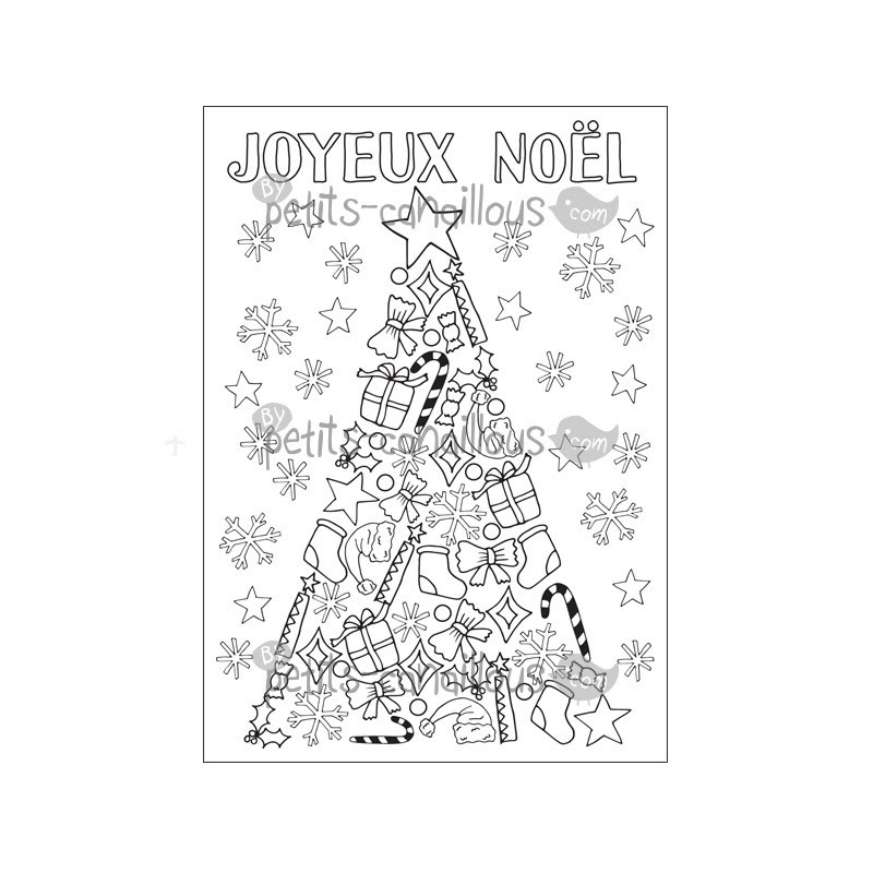 Carte Sapin Noel à Colorier Christmas Card