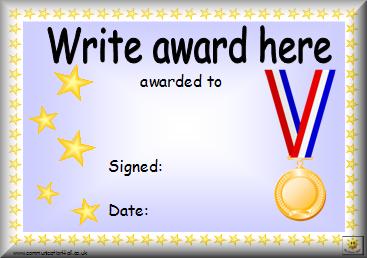 Editable homework award