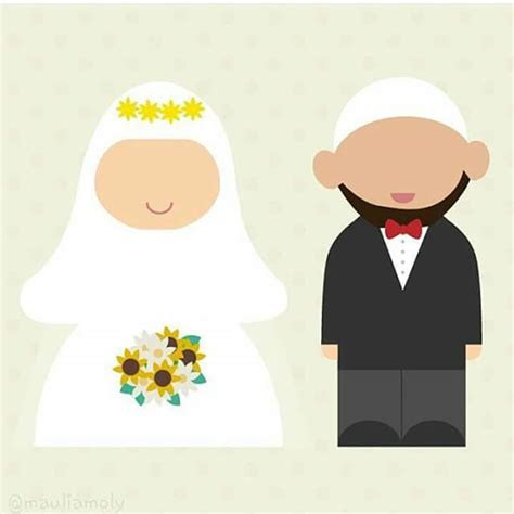 kartun wanita bercadar  suami