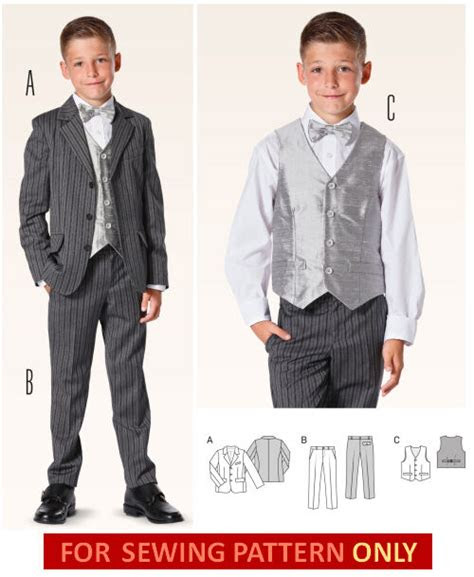 burda sewing pattern  boys suit pantsvestjacket