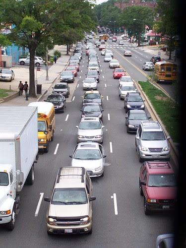 Traffic lined up on Rhode Island Avenue NE, east of 4th Street