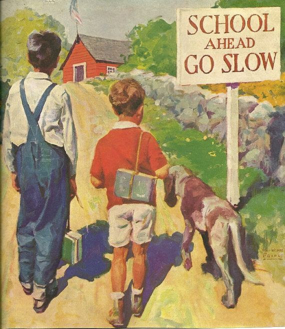 Old Picture CHILDREN DOG SCHOOL Vintage Print Boys 1930's Magazine with Antique Advertising green blue red orange
