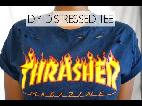 DIY Distressed Thrasher Tee | Mia Denisexo