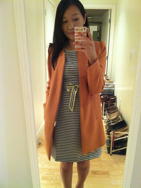 LOFT striped dress (sz 00P) and Zara Coat with gathering on the shoulder (sz XS)