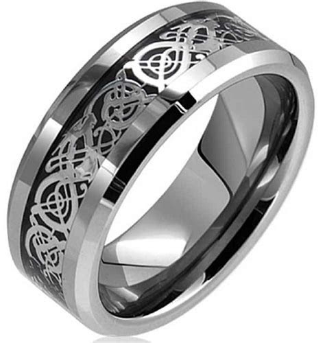 Dragon Lucky 8 Beveled Tungsten Carbide Ring 8mm   Mens