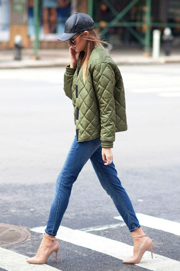 Le Fashion Blog Ways To Wear Green Coat Fall Winter Street Style Leather Cap Quilted Bomber Jacket Cropped Jeans Ankle Strap Heel Via WeWoreWhat