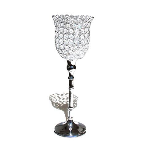 Tall Crystal Candle Holder   Crystal Wedding Centerpiece
