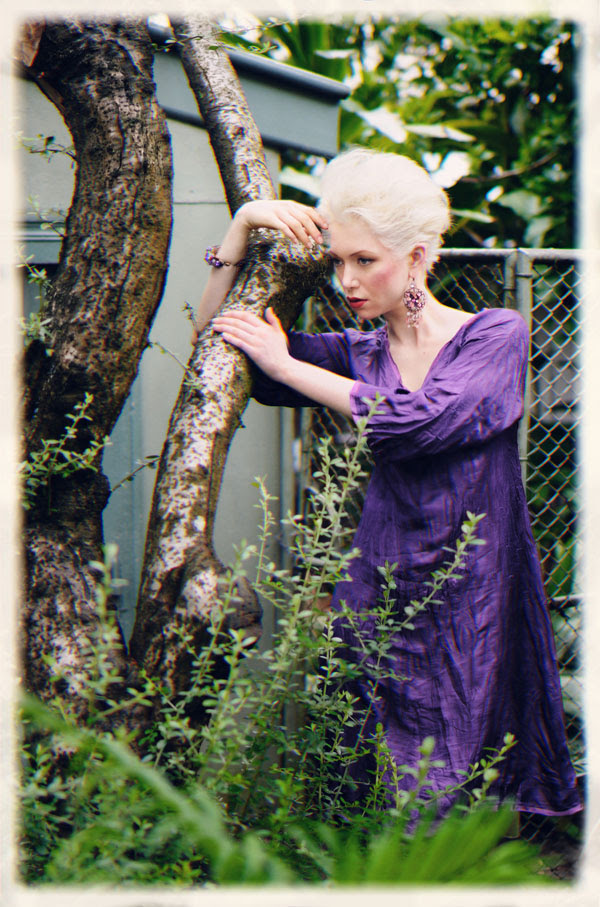 Purple Dress in Backyard, Fashion Catalogue