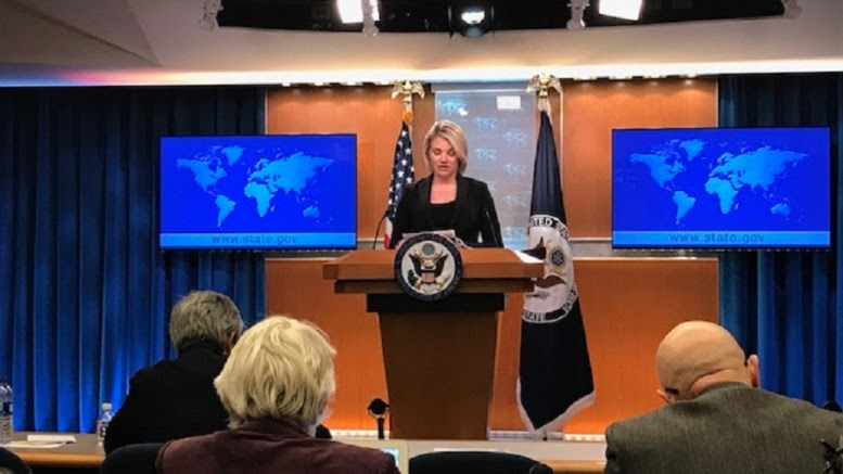 Spokesperson Heather Nauert addresses reporters at the Department Press Briefing, at the U.S. Department of State in Washington, D.C. Photo HellasJournal.Com