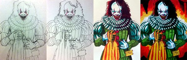 Work-in-progress photos of my Pennywise-with-'kill teeth' drawing.