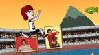 cartoon fazendo salto triplo