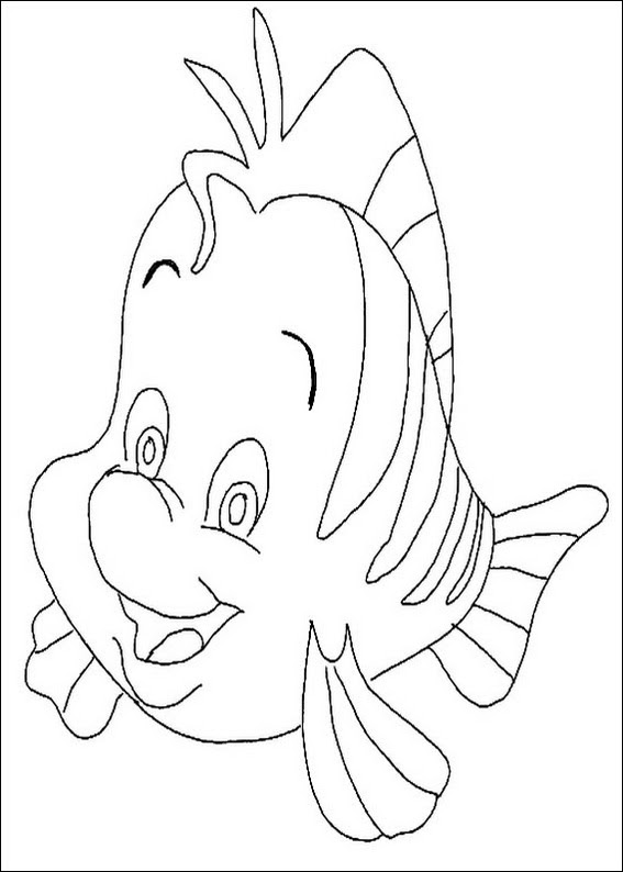 Little Mermaid fish coloring page