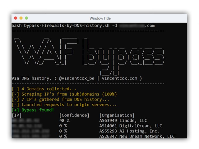 WAF ByPass : Firewall Bypass Script Based On DNS History Records