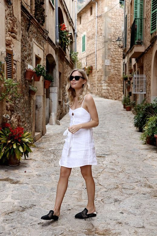 Le Fashion Blog Summer Dresses White Linen Tie Waist Dress Black Raffia Mules Via We The People Style