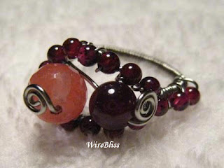 Adjustable wire wrapped Garnet Ring