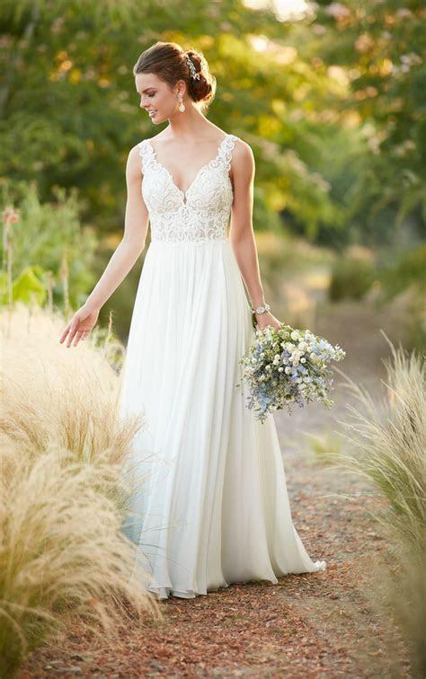 Beach Boho Chiffon Wedding Gown   Essense of Australia