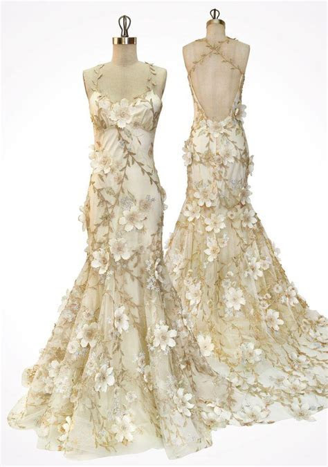 Gold Vines And Ivory Flowers Scattered Over Tulle And Silk