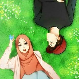 Anime Gambar Kartun Muslimah Couple Romantis